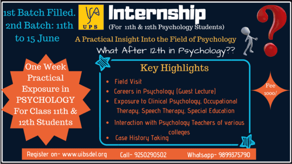 Psychology Internship in delhi